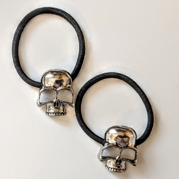 Human Skull Hair Tie set of 2 ties